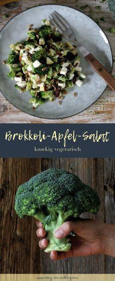 Knackiger Brokkoli-Apfel-Salat If broccoli, apples, raisins, sunflower seeds and feta meet in a bowl Apple Salad Recipes, Salad Recipes For Dinner, Healthy Salad Recipes, Green Veggies, Fresh Vegetables, Fruits And Veggies, Fruit Plus, Dried Beans, Summer Salads