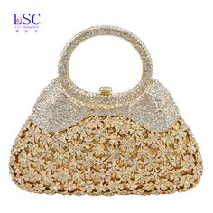 LaiSC new women evening bags chain luxury crystal clutch bags handle matal party purse ladies wedding bags prom handbags SC217