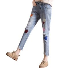 23.12$  Watch here - http://ali14x.shopchina.info/go.php?t=32797507435 - Women Ripped Colorful Heart Embroidery Jeans femme Plus Size Vintage Female Ladies Denim Pants Pencil Casual Brand Fashion Jeans  #magazineonlinewebsite