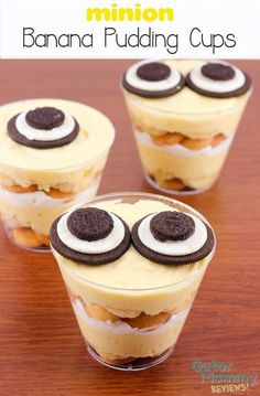 minion Banana Pudding Cups are the perfect no bake dessert for a minion party or as a movie night snack while watching the Minions movie. This delicious banana pudding contains layers of vanilla wafers, pudding and whipped topping. The pudding cups are decorated with minion goggles made out of cream filled chocolate cookies. Kids and adults will be in love with this easy dessert treat. #MinionsMovieNight /minionnation/ #ad #CollectiveBias - minion Banana Pudding Cups Recipe on Gator Mommy…