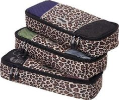 Travel Packing Bags Leopard 3pc Luggage Toiletries Organize Bag Carry On Case Sm #Unbranded