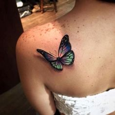 Violet and Green 3D Butterfly Tattoo