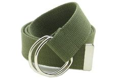 """Canvas Web Belt Double D-Ring Buckle 1.5"""" Wide with Metal Tip Solid Color (Olive) - http://www.our-shopping-store.com/apparel-and-accessories.asp"""