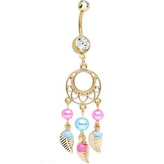 Clear Gem Gold Plated Pearly Feathers Dreamcatcher Dangle Belly Ring | Body Candy Body Jewelry #bodycandy