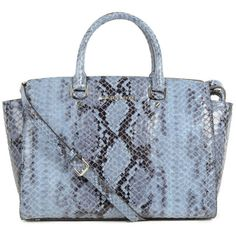 Michael Kors Womens Blue Selma Patent Python Large Satchel ($530) ❤ liked on Polyvore featuring bags, handbags, snakeskin handbag, purse, python handbag, snakeskin purse and studded purse