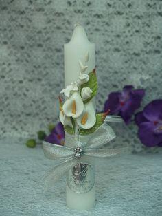 Baptismal Candle B3 beautiful Vintage handmade por NewBrideCo