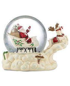 lenox christmas snow globes | snow globe, santas sleigh musical $220