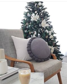 """I'm a little bit Christmas obsessed! I love the present buying (all done online), wrapping, cooking and of course putting up the Christmas Tree. Such a gorgeous relaxed corner with our super cute round Pom Pom Cushion.  available instore www.closelyknit.com.au   167 Likes, 22 Comments - Merino & Natural Fibres (@closely.knit) on Instagram: """"A little Christmas cheer by @bettina.brent.stylist! Loving your chill space Bettina! . Slate Grey…"""""""