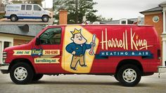 Harrell King Heating & Air - Before & After truck wrap design for a heating and air contractor in Georgia.: