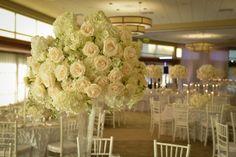 Wedding Centerpieces - White, Peach & Light Green {A Magic Moment Photography} - mazelmoments.com