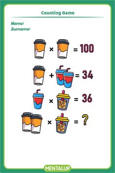 Just click on the pin and find more math printables to boost your skills!🥳 8th Grade Math Games, Counting Games, Brain Training Games, Brain Activities, Educational Games, Fun Workouts, Printables, Student, Tools
