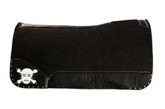 Best Ever Pads, Saddle Pad, Western Tack, Horse Tack, Black Croc, White Leather, Skull, OG Wool, Rodeo, Horses, Custom