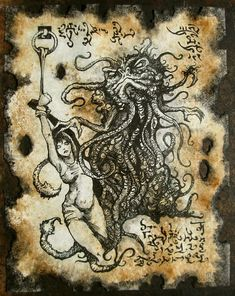 Items similar to THOG the DEMON of XUTHAL Necronomicon page Cthulhu larp prop occult sorcery on Etsy Hp Lovecraft, Lovecraft Cthulhu, Larp, Arte Horror, Horror Art, Dark Fantasy, Fantasy Art, Necronomicon Lovecraft, Lovecraftian Horror