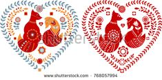 Cute Nordic folk pattern with foxes and flowers framed in a heart shape. Folk art.