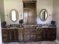Borders Woodworks 904.524.5204 designed, built, and installed this custom, solid alder wood dual sink Vanity in the bath room of a home here in Jacksonville, Florida. Call us for your next woodworking project. Let's build something!