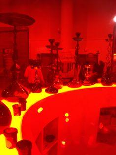 The line-up through a glass smoke chamber.   #artsy #hookah #smoke #chamber