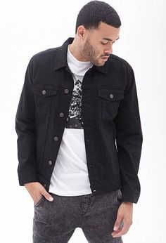 $24, 21 Clean Wash Denim Jacket by 21men. Sold by Forever 21. Click for more info: http://lookastic.com/men/shop_items/91488/redirect