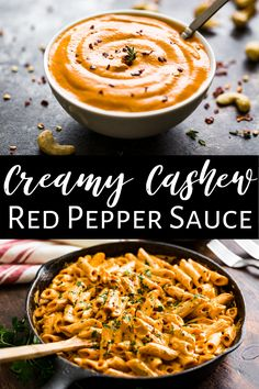 This Creamy Cashew Red Pepper Sauce comes together in the blender and it's a super easy and healthy recipe. It's gluten free and dairy free as well as vegan. It's perfect over pasta as a meatless meal. But it's also fantastic with chicken or fish as well. #cashewcreamsauce #dairyfree #vegan #glutenfree #vegetarian