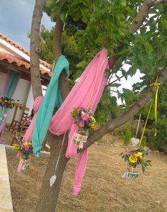 #στολισμος βαπτισης ροζ, βεραμαν, κίτρινο λεμονί & μωβ λιλά