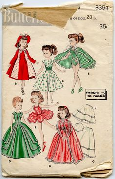 1950s Doll Clothes Pattern Butterick 8354 Doll Wardrobe for 20 Inch Dolls Miss…