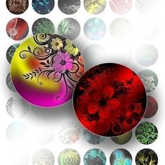 1 inch circle digital art collage sheet with bottle cap images for jewelry making paper supplies Colorful floral swirls on black background. These digital clip art images are perfect for bottle caps, mixed media, collage work, cards, stickers, bookmarks, scrapbooking, jewelry, glass tiles, magnets, and others. You can print as many as you want on your printer.  The images are 1 inch circles. This entire graphics sheet is 8.5x11 inches (standard letter size), and resolution is 300 dpi. This…