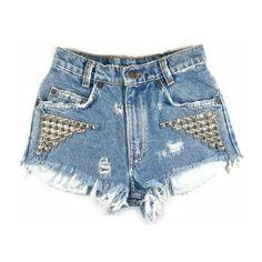 Blue Nova Short studded cutoff shorts ❤ liked on Polyvore