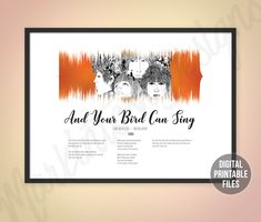 And Your Bird Can Sing, Sound Wave and Lyrics art, Help, Printable digital files, Instant download, Beatles customizable soundwave gift Beatles Songs, The Beatles, Printable Art, Printables, Sound Waves, Beautiful Love, You Are The Father, Custom Art, Love Songs