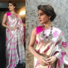 Samantha in elephant motif,handloom silk saree