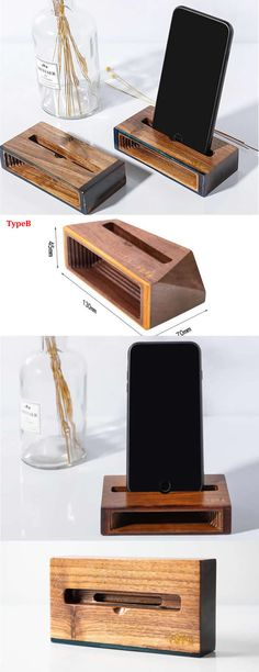 A Black Walnut Wooden Speaker iPhone Cell Phone Sound amplifier Cell Phone Stand Holder Mount Holder Trumpet Holder Amplifier Loudspeaker Amplification Stands for iPhone 77 Plus and other smartphones Cell Phone Stand, Cell Phone Holder, Business Card Holders, Business Cards, Phone Sounds, Wooden Speakers, Phone Table, Cool Office Supplies, Android Smartphone