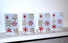Handmade Red snowflakes with Stamped background by HomeandaFarr Christmas 2016, Advent Calendar, Snowflakes, Origami, Arts And Crafts, Stamp, Holiday Decor, Creative, Red