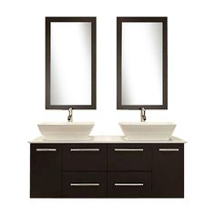 Kokols USA Espresso 60-in Vessel Double Sink Oak Bathroom Vanity with Cultured Marble Top (Faucet and Mirror Included)