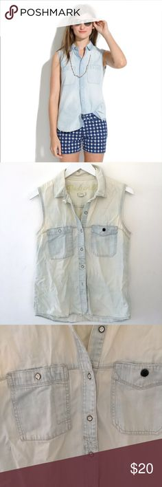 Madewell Sleeveless Chambray Shirt Madewell sleeveless chambray shirt. Great condition, apart from a button on the front being replaced. Perfect layering piece for spring! Size small. Madewell Tops Button Down Shirts