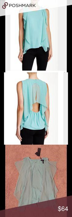 BCBGMAXAZRIA Blouse Crew neck, sleeveless, draped construction, back button closure, back cutout. 100% polyester. Hand wash cold. Light Aqua. BCBGMaxAzria Tops Blouses