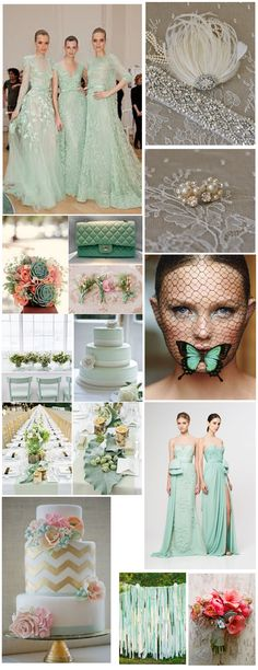 Mint Green Wedding Theme - wedding, ideas, inspiration, fashion, bridal accessories, art deco, headpiece, fascinator, bridal dress, backdrops, decor,