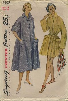 Vintage Sewing Pattern | Robe | Simplicity 3592 | Year 1951 | Bust 36 | Waist 30 | Hip 39