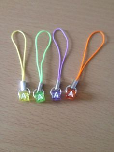 Alphabet bead Letter A cell phone charm bag charm zip pull various colours