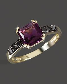 black gold and amathyst ring | Black Diamond And Amethyst Ring In 14K Yellow ... | Jewelry to make o ...
