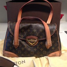 Authentic Louis Vuitton Beverly GM Cute bag comes with box dust bag and receipt from a repair. A couple of cracks handle show where but lots of life left Louis Vuitton Bags Shoulder Bags