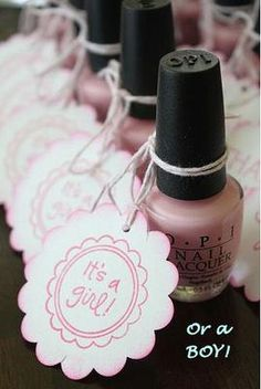 Love this idea!!!!  Nail polish favors for a baby girl or boy baby shower personalized with homemade party circles