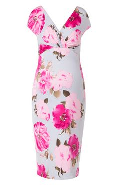 Boldly beautiful with stunning eau de nil and hot pink floral print, our Bardot shift maternity dress is striking yet sultry.
