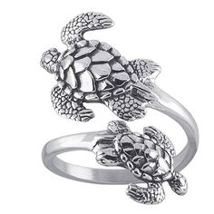 Amazon.com: Sea Turtles Sterling Silver Ring Sea Turtle Adjustable Bypass Nautical Nature Ocean Jewelry: Jewelry