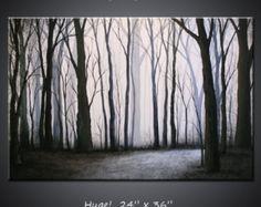 """Arte Original pintura Original contemporáneo abstracto paisaje bosque de... 24 """"x 36"""" lista para colgar, por Amy Giacomelli"""
