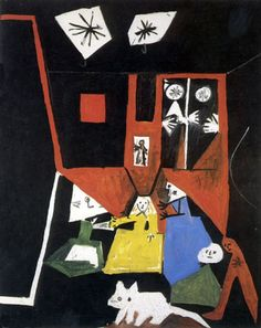 This is a painting of Picasso inspired by Velazquez painting. He used complimentary colors and drew it in a cartoon way. Las meninas - picasso
