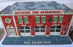 Vintage 1950's Keystone Fire Department Toy Play Set Fire Station Car Trucks Etc #Keystone