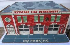 Vintage 1950's Keystone Fire Department Toy Play Set Fire Station Car Trucks Etc #Keystone