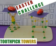 Toothpick Tower STEM Challenge - build towers with toothpicks to support an egg Craft Stick Crafts, Fun Crafts, Crafts For Kids, Science Experiments Kids, Science For Kids, Easter Activities, Activities For Kids, Chemistry For Kids, Stem For Kids