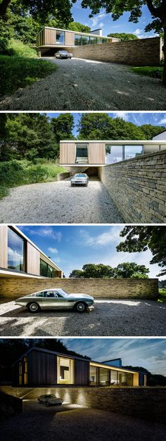 As this home is located on a sloping site, the house cantilevers out over a retaining wall faced in local Purbeck stone, and creates a sheltered parking area. Lighting has been added underneath the cantilevered section to make it easier to see at night.