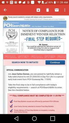 I Jose Carlos Gomez confirm publisher's Clearing House notice of compliance for imminent winners selection final step bulletin. Instant Win Sweepstakes, Online Sweepstakes, Lotto Winning Numbers, Win For Life, Lottery Winner, Winning Lotto, Publisher Clearing House, Become A Millionaire, Helping Others