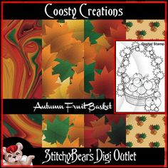 Autumn Fruit Basket Digital Stamp and Paper Pac