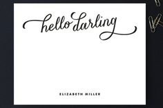 So pretty with the pink ink option! Hello Darling Personalized Stationery by Lauren Chism at minted.com